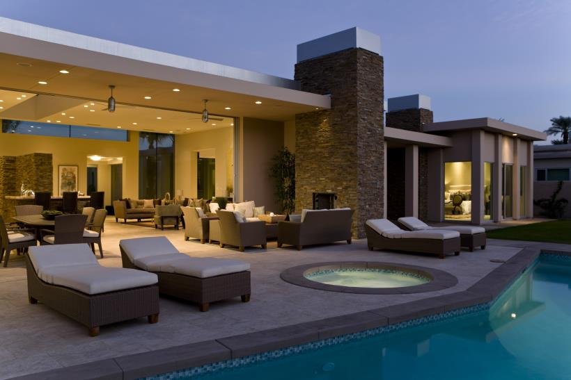 A Hot Tub Incorporated With A Patio