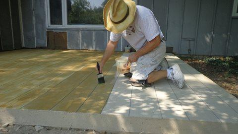 nifty ideas to spruce up an aging concrete patio | totally home ... - Ideas For A Concrete Patio