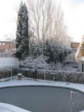 Pool frozen in winter
